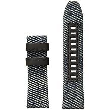 Diesel On 24mm Full Guard Blue Denim and Black Leather Strap DZT0001
