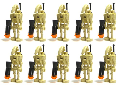 Cheap LEGO Star War LOT of 10 BATTLE DROIDS with BACKPACK Back Plate Antenna and BLASTER GUN Accessories Minifig Minifigure Figure Set Federation Army Builder