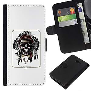 EJOY---La carpeta del tirón la caja de cuero de alta calidad de la PU Caso protector / Sony Xperia M2 / --Pluma india del tocado del nativo americano