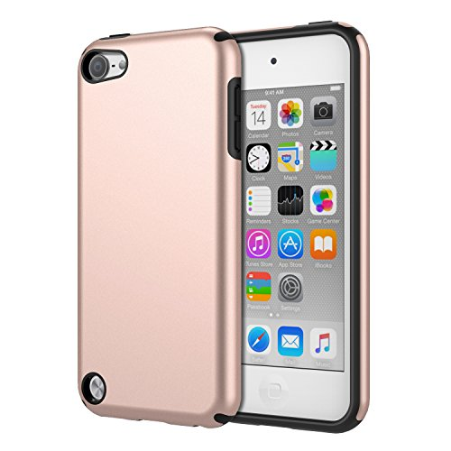 MoKo Case Fit iPod Touch 2019 Released iPod Touch 7 / iPod Touch 6 / iPod Touch 5, 2 in 1 Shock Absorbing TPU Bumper Ultra Slim Protective Case with Hard Back Cover - Rose Gold