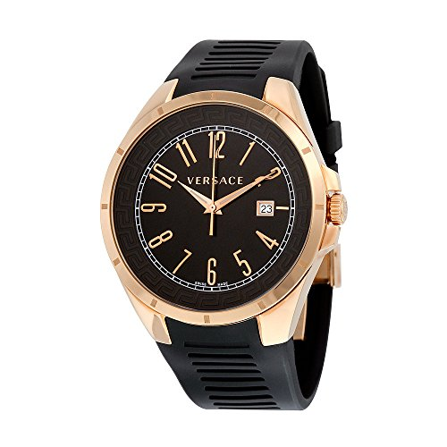 Versace V-Man Black Dial Rubber Strap Mens Watch P7Q80D009 S009