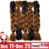 """Forevery Braiding Hair Synthetic Ombre Hair Kanekalon Braiding High Temperature Fiber Crochet Twist Braids Black to Brown Ombre (24"""", 3)"""