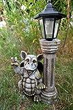 Dragon Dragon Figurine en paix avec lanterne solaire pour décoration de jardin