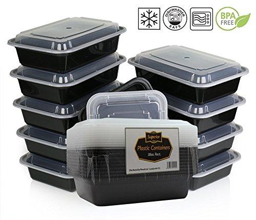 {10 Pack} Microwave And Dishwasher Safe Stackable Meal Prep Plastic Food...