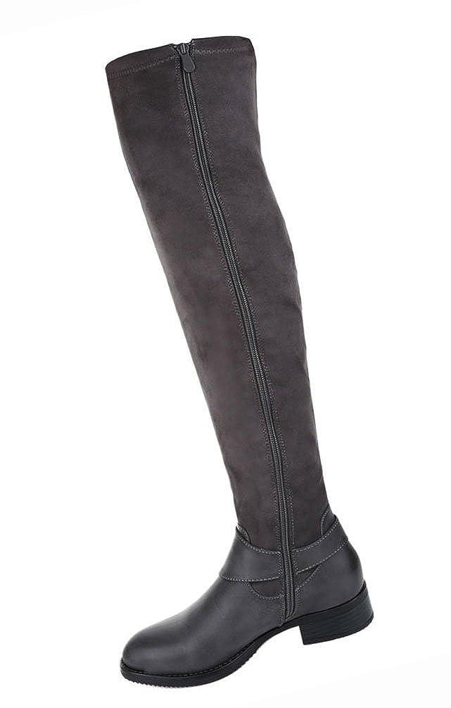 Damen Schuhe Overknee Stiefel Leicht Gefütterte Schwarz Schwarz Schwarz Grau 590f14