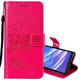 EnjoyCase Wallet Case for OnePlus 7,Cut Funny Embossed Flower Owl Premium PU Leather Wrist Strap Magnetic Closure Bookstyle Protective Flip Cover for OnePlus 7