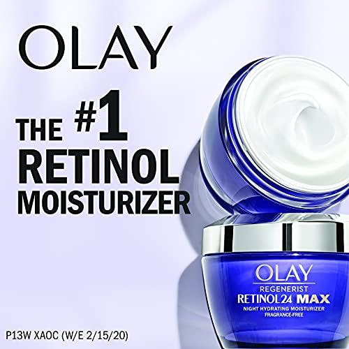 Olay Regenerist Retinol 24 Max Moisturizer, Retinol 24 Max Night Face Cream, Fragrance Free, 1.7 Oz + Whip Face Moisturizer Travel/Trial Size Gift Set