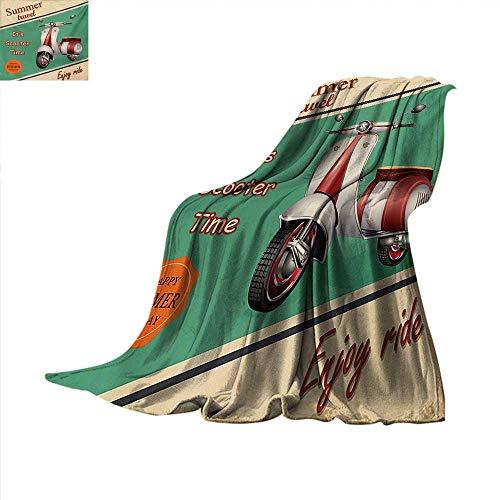 (Vintage Weave Pattern Blanket Scooter Motorbike Summer Travel Italian City Sight Hipster Enjoy Ride Illustration Summer Quilt Comforter 60