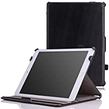 iPad Air 2 Case - MoKo Genuine Leather Slim-Fit Multi-angle Folio Cover Case for Apple iPad Air 2 (iPad 6) 9.7 Inch 2014 Tablet, BLACK (with Auto Sleep / wake, Not fit iPad Air 2013)