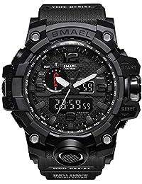 SMAEL Digital Sports 1545 Preto Relógios Militares Eletrônico À Prova D 'Água Casual LED Cronômetro Alarme Digital Analógico Dual Time Ao Ar Livre Exército Relógio de pulso Choque Original