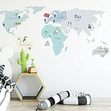 Wandtattoo Wandaufkleber Sticker Kinderzimmer 3D XXL Mint Weltkarte ...