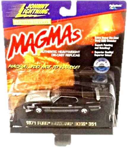 Johnny Lightning - Limited Edition Magmas - 1971 Ford Mustang Boss 351 - 1:43 Scale Classic Collector Car Replica. Black Body Color with Silver/Gray Hood, Rear Spoiler, Front & Back Bumpers and Striping