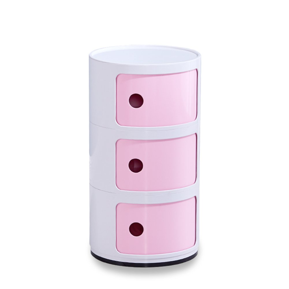 Nordic mini mobile bedside table,Simple bedroom corner cabinet multi-Function round plastic lockers storage cabinets-C