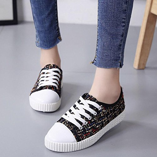 Women's Canvas Flat Plaid Shoes Breathable Pink Comfortable Gray College Shoes Casual Black Shoes Wind Single GAOLIXIA Shoes Black Shoes FAdPF