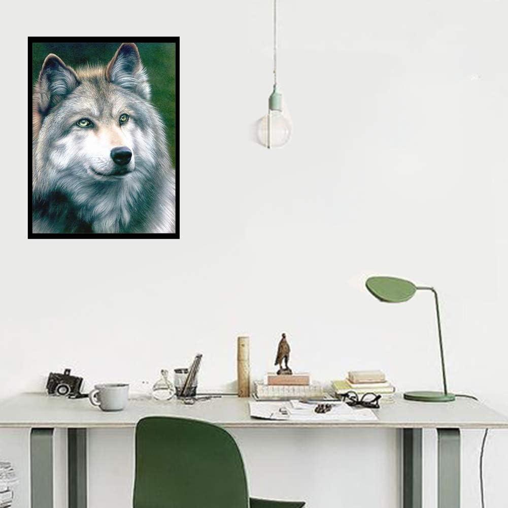 DIY 5D Diamond Painting Full Round Drill Rhinestone Embroidery Cross Stitch Supply Arts Craft Wall Decor White Wolf 11.8x15.7 in by LANSUER