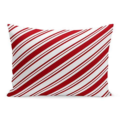 Semtomn Throw Pillow Covers Candy Red White Diagonal Stripes Cane Pattern Abstract Candycane Pillow Case Cushion Cover Lumbar Pillowcase Decoration for Couch Sofa Bedding Car 20 x 36 inchs