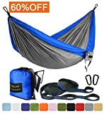 Image of Outdoor Camping Hammock - Portable Anti-fade Nylon Single Hammock with 2 Piece 14 Loop Straps by FARLAND - Parachute Lightweight Hammock for Hiking Backpacking