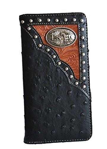 Studded Checkbook Wallet - western men ostrich print pu leather praying cross concho long tall slim wallet (black)