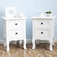 2 x White Nightstand Set 2 Bedside End Table Pair Shabby Chick Bedroom Furniture