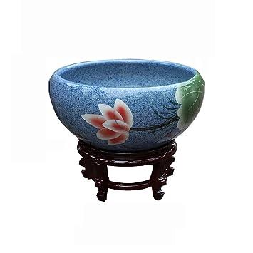 Suna Tanque De Peces De Cerámica Pecera Grande Flor De Loto Maceta Sala De Estar Feng Shui Tanque De Peces De Colores (Tour De Peces: Amazon.es: Productos ...
