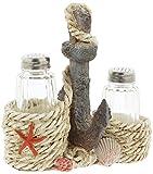 Distinctive Designs Nautical Salt & Pepper Shaker Set with Anchor Holder