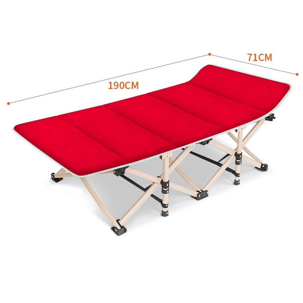 MISHUAI Klappbett, Doppelschichtgewebe verdicken tragbare Campingbett Sonnenliege mit Tragetasche für Camping Home Office Einfache Stapelung und Lagerung (Farbe : Rot, Größe : 190 * 71 * 38cm)