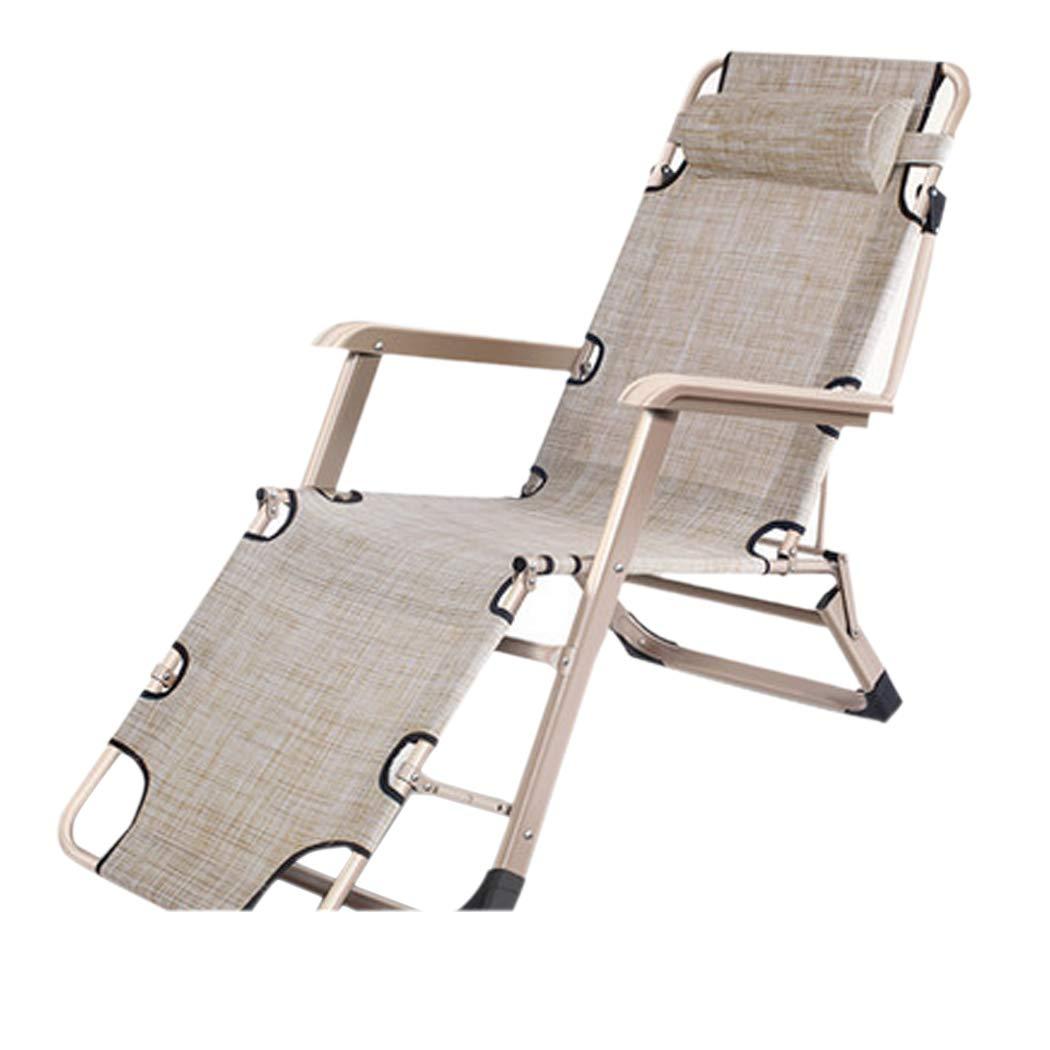 HSBAIS アウトドアベッド 折りたたみ、取り外し可能な枕、キャンプベッド 調整可能 テキスタイル表面、中庭 オフィス キャンプの場合、150KG / 330ポンドをサポート,Beige B07T7VP7WC Beige