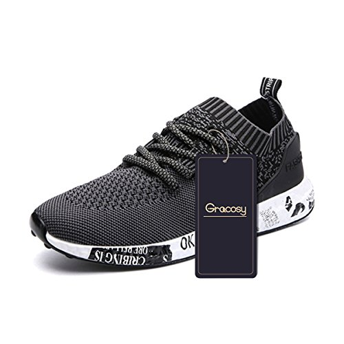 Casual Sport Shoes, Gracosy Men's Lightweight Daily Walking Shoes Athletic Sports Shoes Breathable Fashion Sneakers Black 43 EU