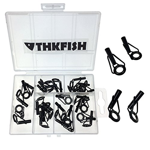 30pcs in Box Black Nikel Saltwater Sea Heavy Duty Boat Fishing Rod Guides Top TIPS Fishing Black Box