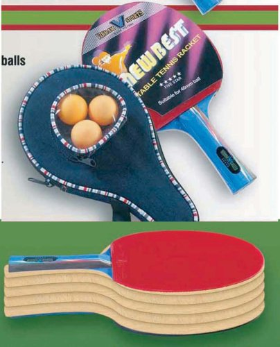 Brand NEW 2018 NewBest Table Tennis Racket – 5 STAR with cover and 3 balls by Vikram Sports at Factory Direct Price