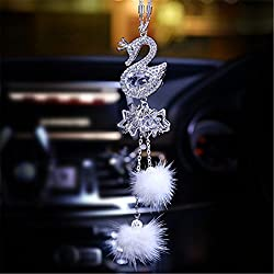 Crystal Swan Rearview Mirror Decoration
