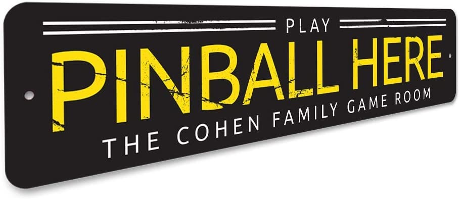 Personalized Play Pinball Here Family Name Game Room Sign ENSA1001414
