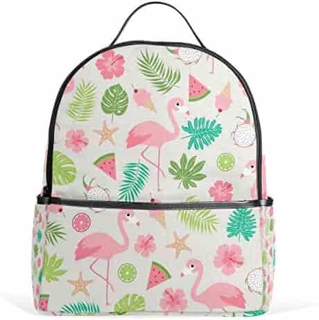8df14fbde9 JSTEL Tropical Summer Flamingo School Backpack 2th 3th 4th Grade for Boys  Teen Girls Kids
