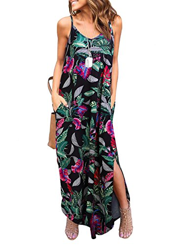 HUSKARY Women's Summer Sleeveless Loose Plain Maxi Dress Floral Print Casual Long Dresses with Pockets