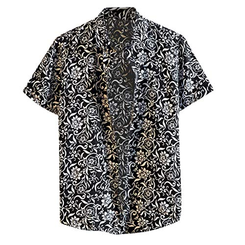 Shirt Relaxed-Fit Hawaiian Summer Fashion Shirts Casual Short Sleeve Beach Tops Loose Casual Blouse Men (L,3- Black)]()