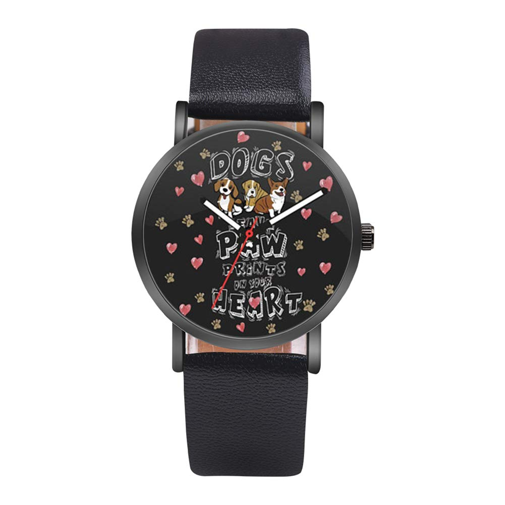 qInsSZm Watches Student Girls Lovely Dog Faux Leather Band Casual Round Quartz Wrist Watch Gift Black