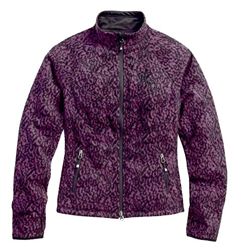 Harley-Davidson Women's Animal Print Windproof Fleece Jacket, 97561-16VW (L) Purple