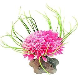 Muranba Aquarium ModelingLandscaping Plants Ornamental Aquatic Plastic Multicolored Ball (Pink)
