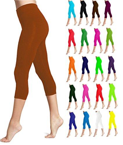 Lush Moda Seamless Capri Length Basic Cropped Leggings - Variety of Colors - Brown ()