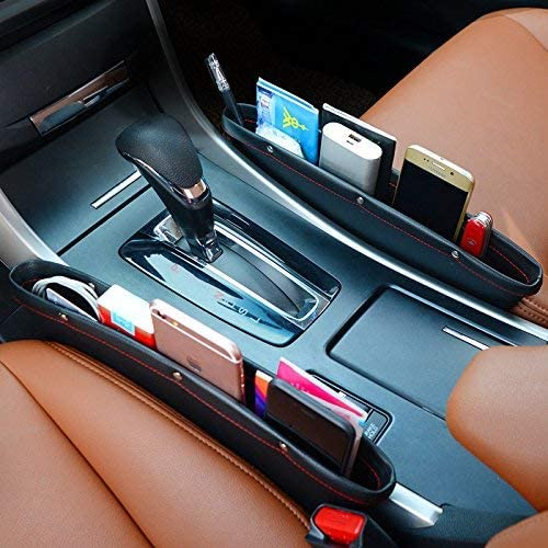 Sitzseiten-Aufbewahrungsbox f/ür Handy 2 St/ück Sonnenbrille Amoyon Auto-L/ückenf/üller Schl/üssel Organizer schwarz Premium-Leder-Sitz-L/ückentaschen f/ür Autokonsole