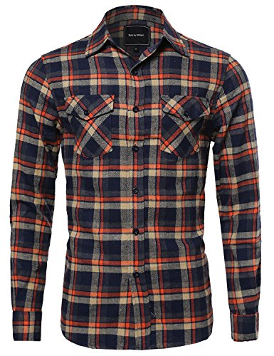 Flannel Plaid Checkered Long Sleeve Shirt With Front Pockets Brown XL Size