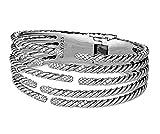 David Yurman Silver Five Row Willow 1.53cts Diamonds Sterling Bracelet #15B