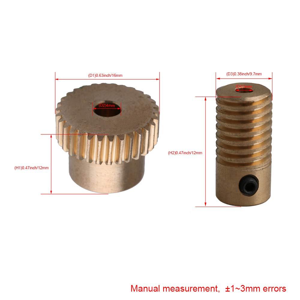 3mm Brass Worm Gear Aperture Worm Shaft 0.5 Mode Array 1:30 Reduction Ratio Drive Gearbox