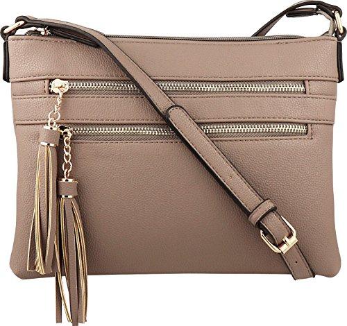 B BRENTANO Vegan Multi-Zipper Crossbody Handbag Purse with Tassel Accents (Nude 1) by B BRENTANO