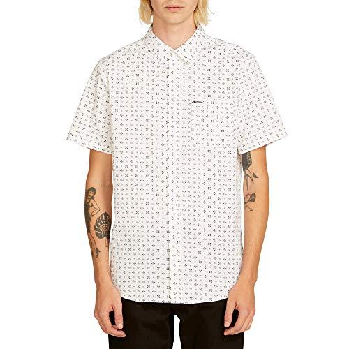 Volcom Men's Salt Dot Short Sleeve Button Up Shirt, White, Large ()