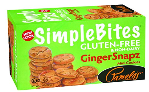 Pamela's Products Gluten Free Simplebites Mini Cookies, Ginger Snapz, 7 Ounce (Pack of 6) (Diaper Cookie)
