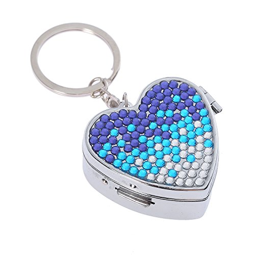 Fashion Heart Shape Gradient Blue Bling Crystal Portable Pill Box Cute Rhinestone Pill Splitter Container Case