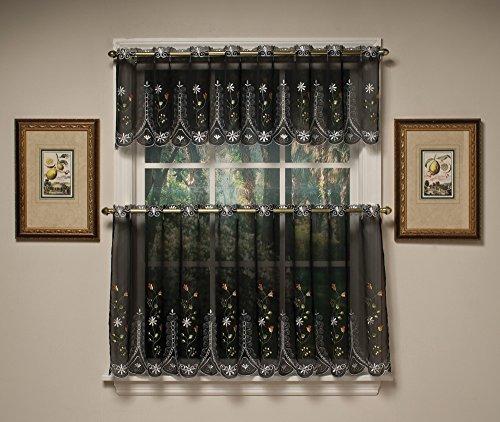 24' Tier Kitchen Curtains - Samantha Embroidered Sheer Kitchen Curtain - 24
