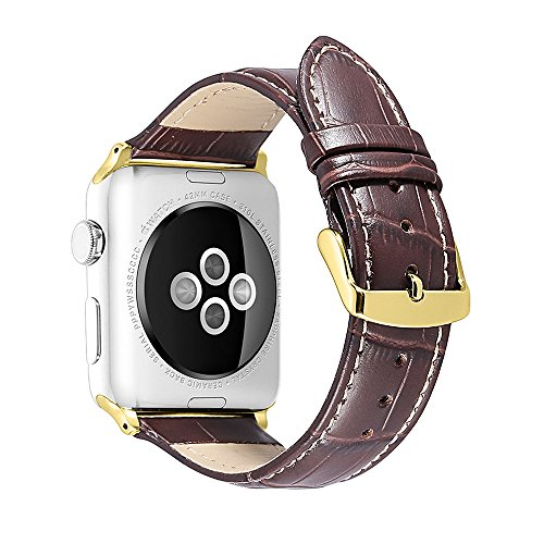 iStrap Alligator Grain Calf Leather Watch Band fit Apple iWatch 42mm Model Gold Tone Prev Tang Buckle