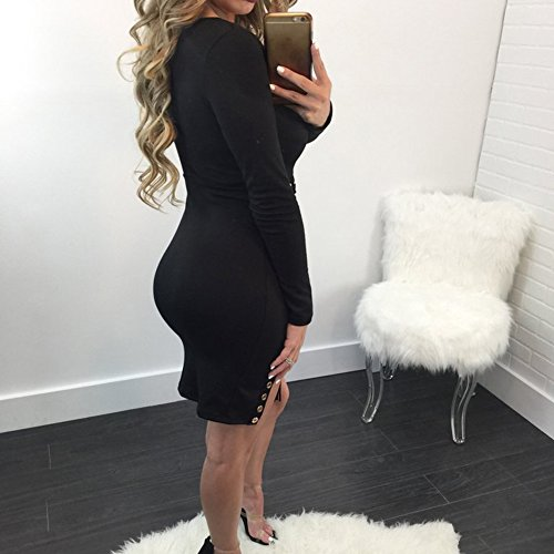 Kootk cordones Vestir Profundo Manga Sexy Negro Con Mini Cuello Señoras V Vestir Vestir Bodycon Mujer Largo xFqP66